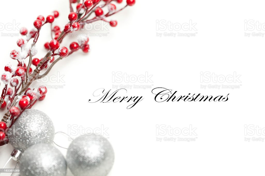 Cover of a Christmas card with ornaments stock photo