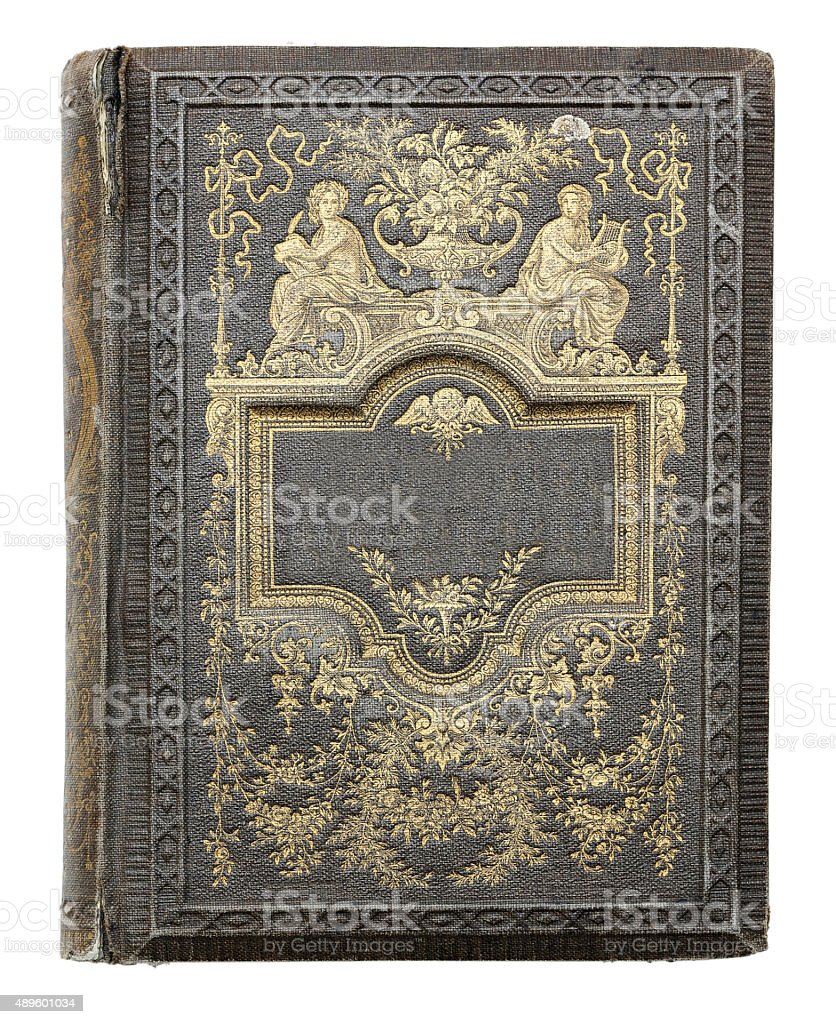 cover of an old book. stock photo