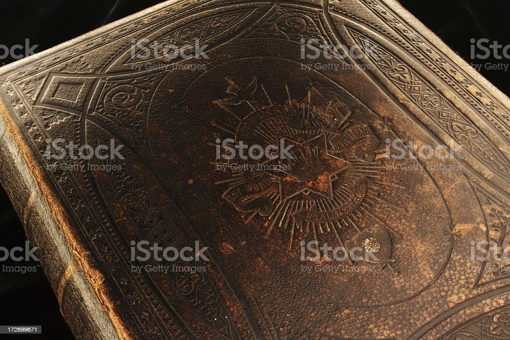 Cover of antique family bible royalty-free stock photo