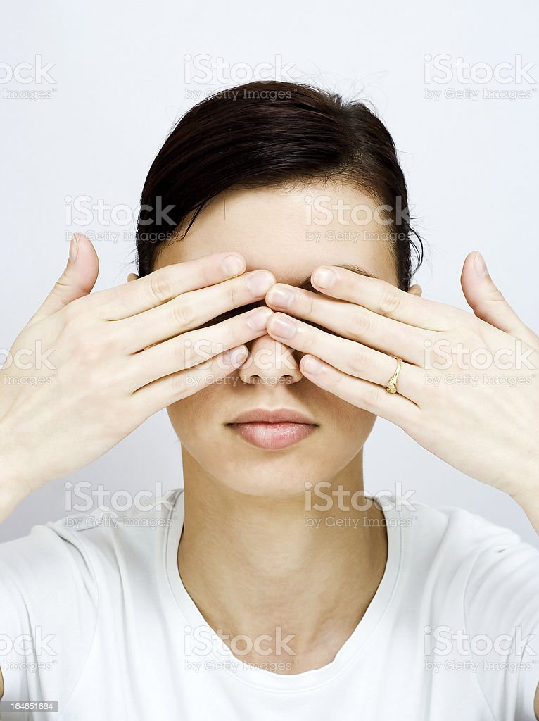 Cover the eyes royalty-free stock photo