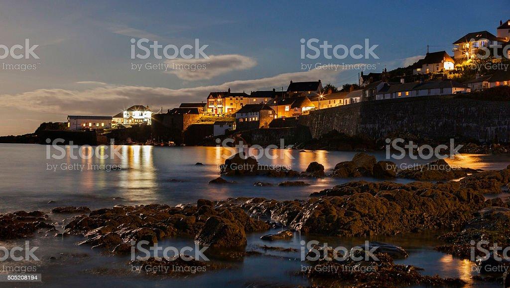 Coverack at night stock photo