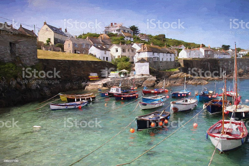Coverack harbour Cornwall fishing village illustration oil painting stock photo
