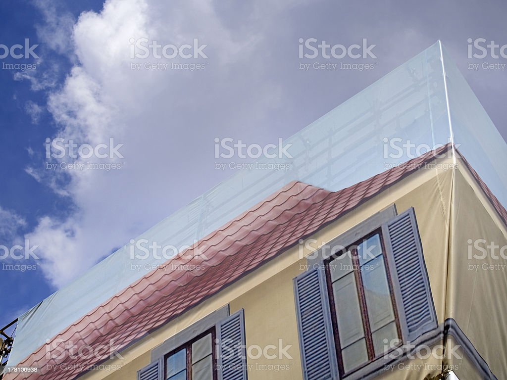 coverage works building with decoration fake windows stock photo