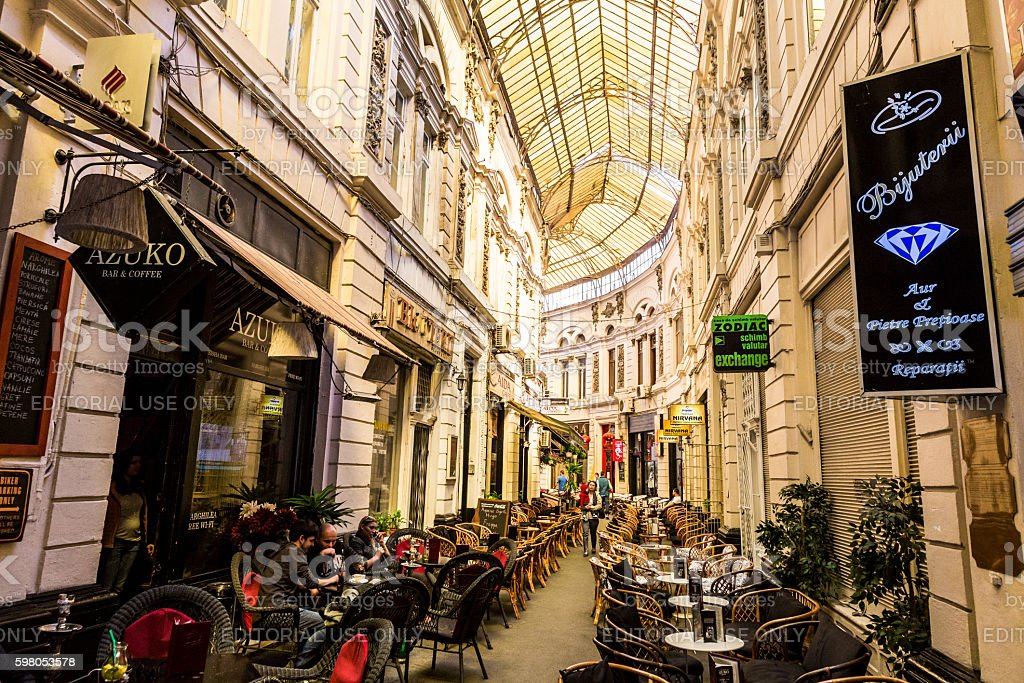 Covered arcade with bars and restaurants in Bucharest, Romania stock photo