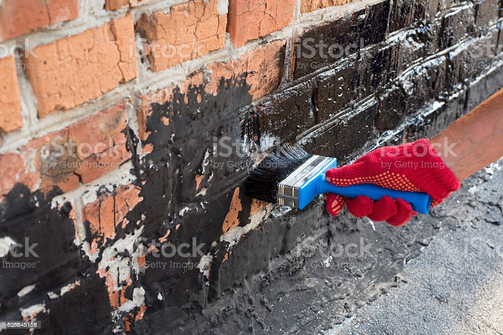 covered brick wall  primer stock photo