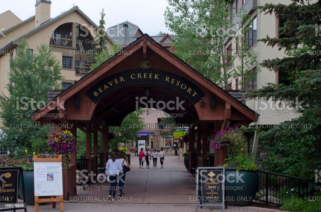 Covered Bridge at Beaver Creek Resort stock photo