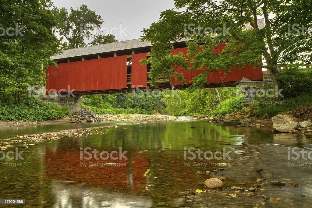 Covered Bridge Calm River stock photo
