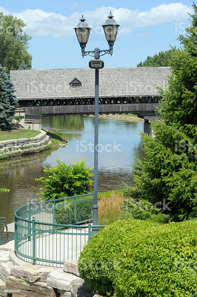 덮힘 구름다리, 프랑켄머스, Michigan royalty-free 스톡 사진