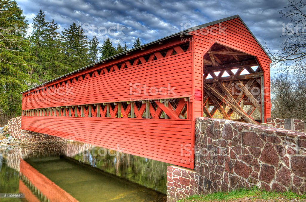 Covered Bridge - Gettysburg, PA stock photo