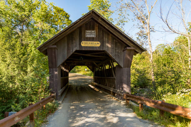 Covered Bridge Gold Brook in Stowe Vermont stock photo