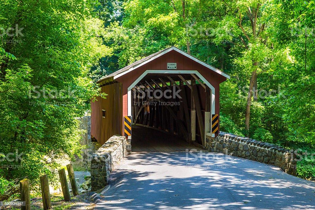 Covered bridge in Lancaster Pennsylvania stock photo