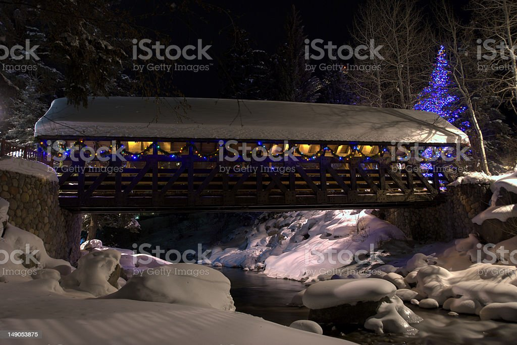 Covered Bridge in Lights stock photo