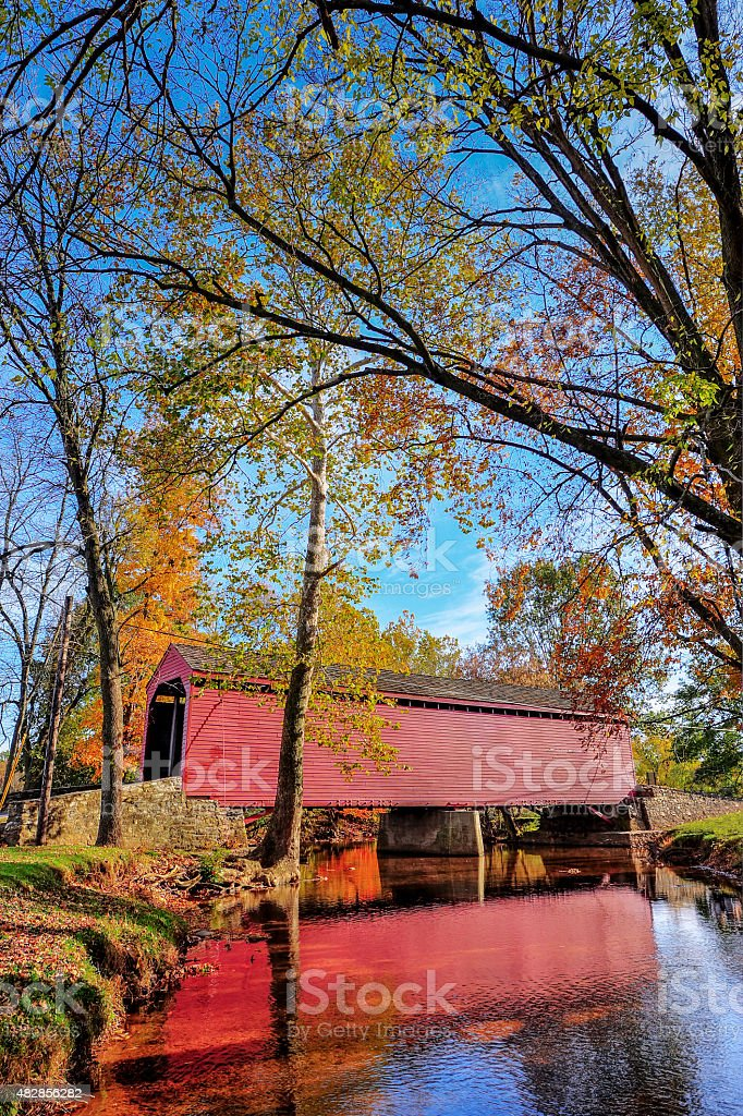 Covered Bridge in Maryland in Autumn stock photo