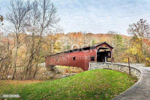 Colemanville covered bridge in Pennsylvania during Autumn