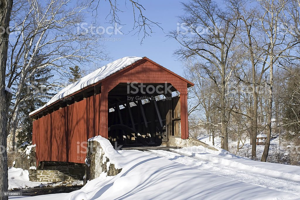 Covered Bridge in Snow royalty-free stock photo