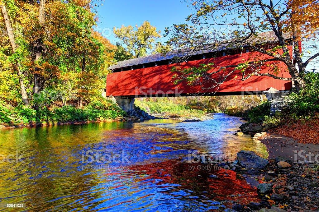 Covered Bridge in the Pioneer Valley region of Massachusetts stock photo