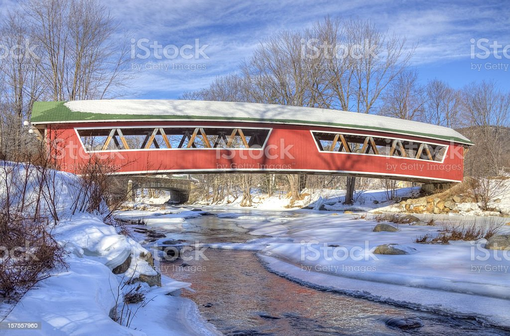 Covered Bridge in the White Mountains National Forest, New Hampshire stock photo