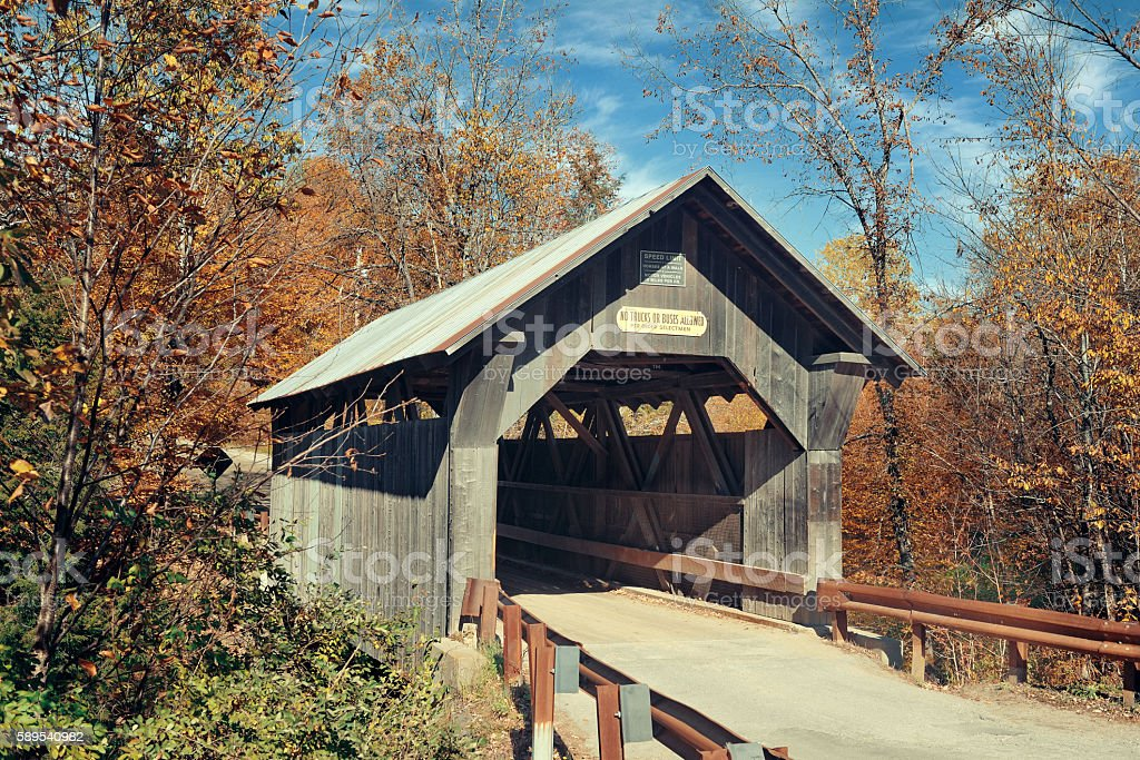 Covered Bridge in Vermont stock photo