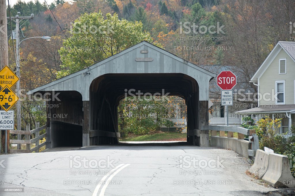 Covered bridge in Waitsfield, Vermont stock photo