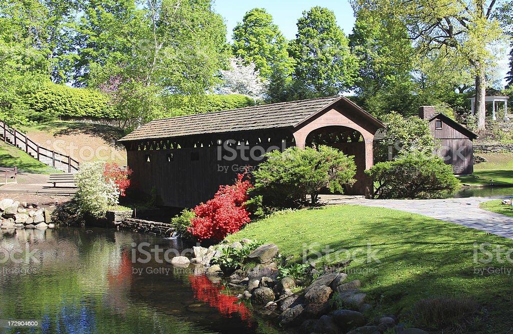 Covered bridge in Westfield, Massachusetts stock photo