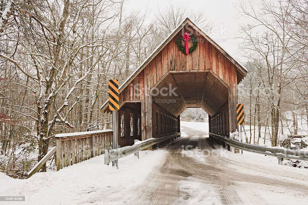 Covered Bridge in Winter stock photo