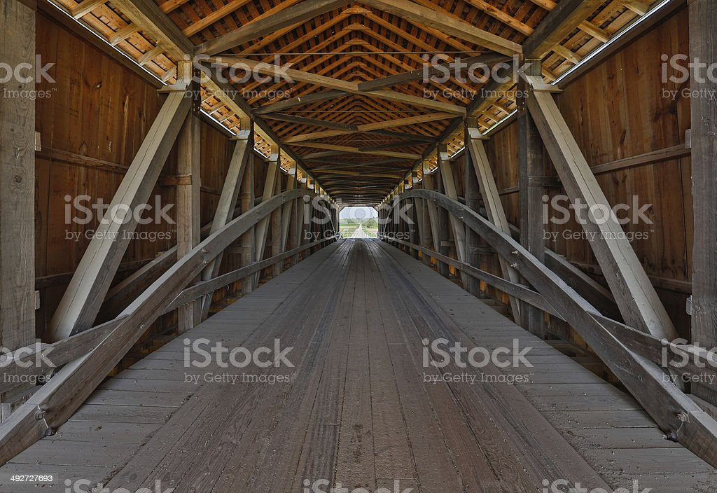 Covered Bridge Interior stock photo