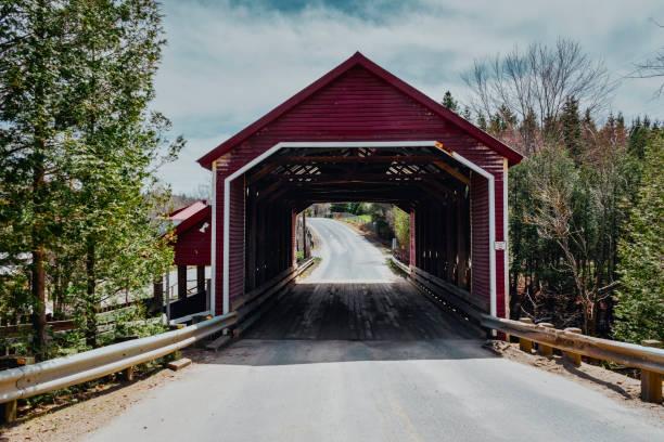 A covered bridge of Quebec. stock photo
