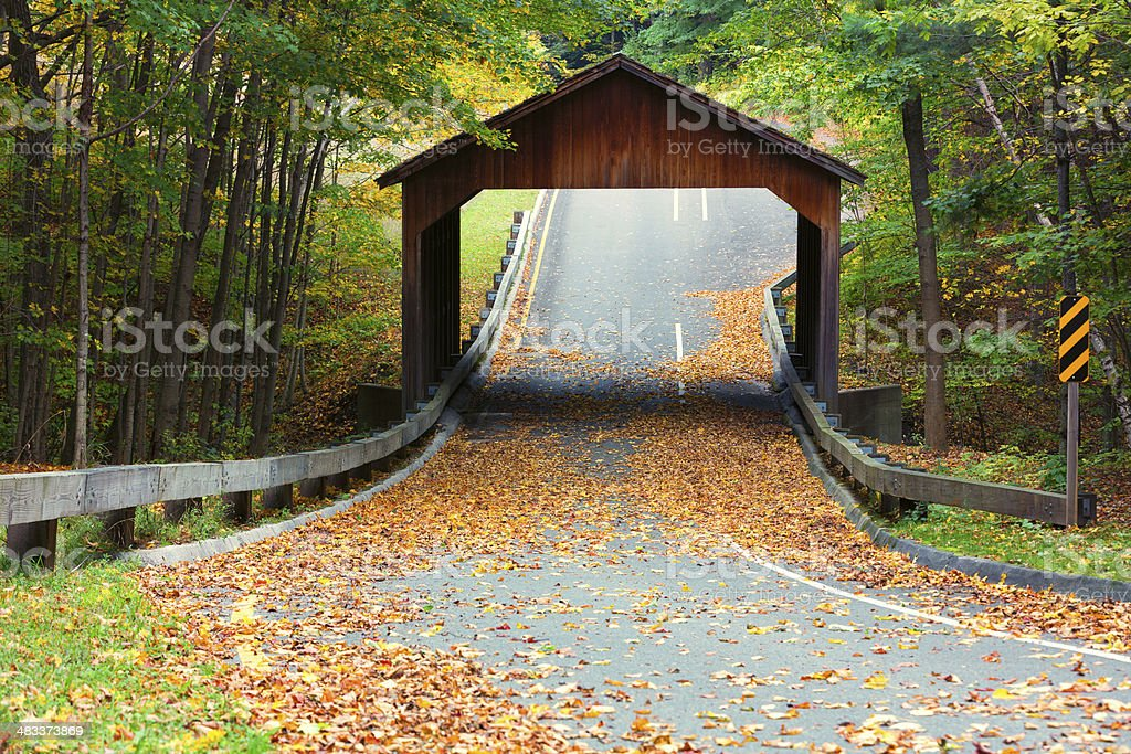 Covered Bridge on Pierce Stocking Drive at Sleeping Bear Dunes stock photo