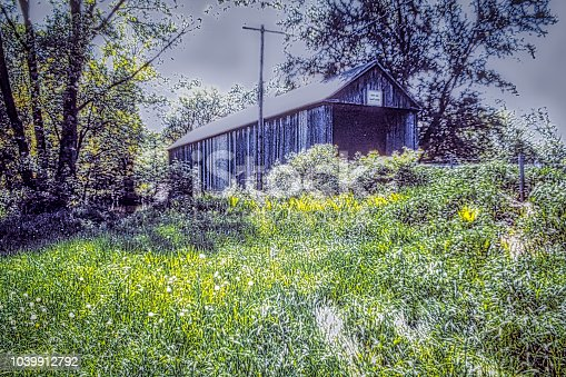 A covered bridge on Creek Road, Salisbury, Vermont, spans the Otter Creek. From a transparency.