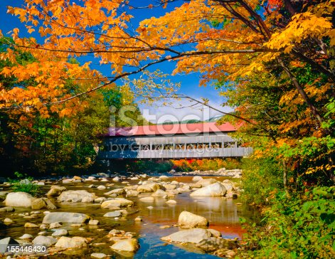 red roofed covered bridge, stream, autumn, Hew Hampshire