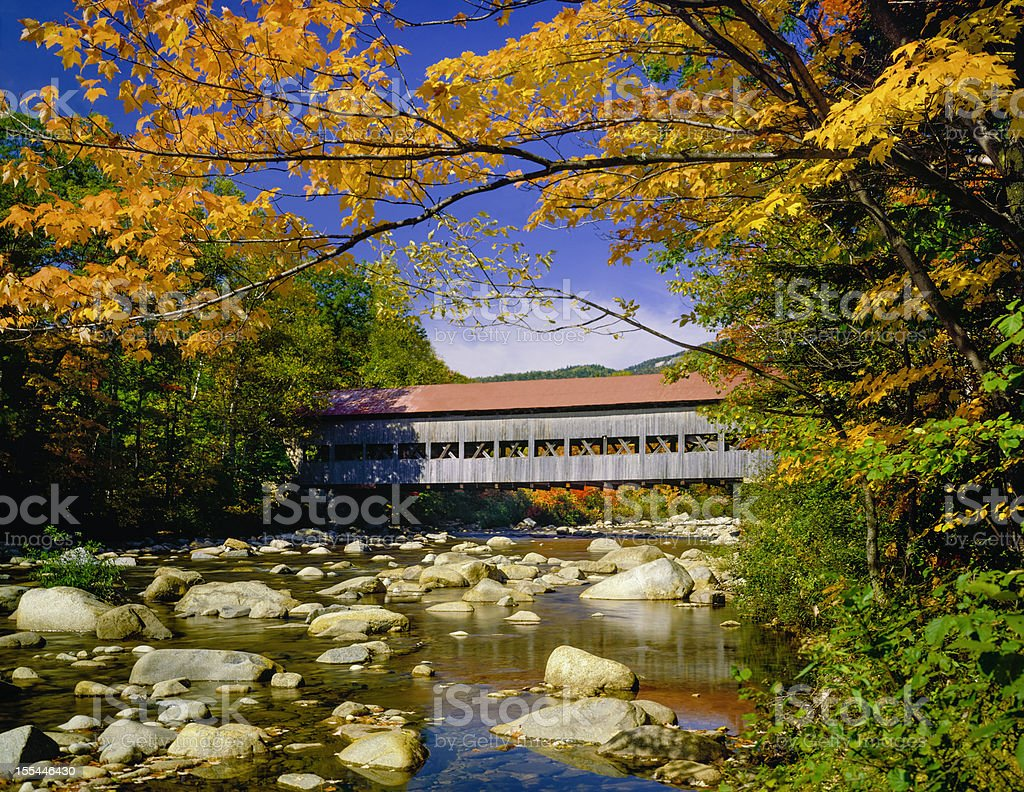 covered bridge, stream, autumn, Hew Hampshire stock photo
