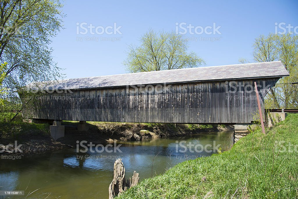 Covered Bridge weathered exterior VT royalty-free stock photo