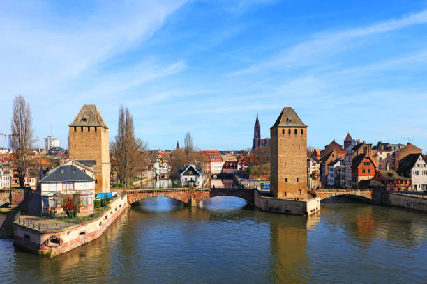 Ponts Couverts (Covered Bridges) in Strasbourg - Alsace France stock photo
