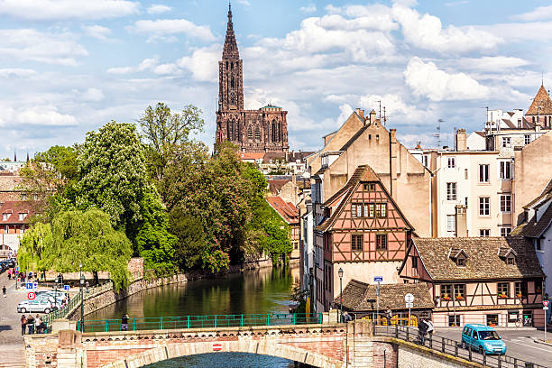 Covered Bridges (Ponts Couverts ) in Strasbourg, France stock photo