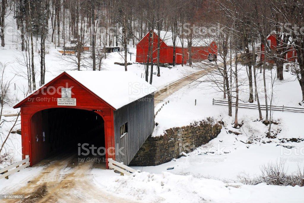 Covered Bridges in Winter stock photo