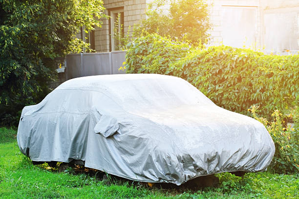 Covered car stock photo
