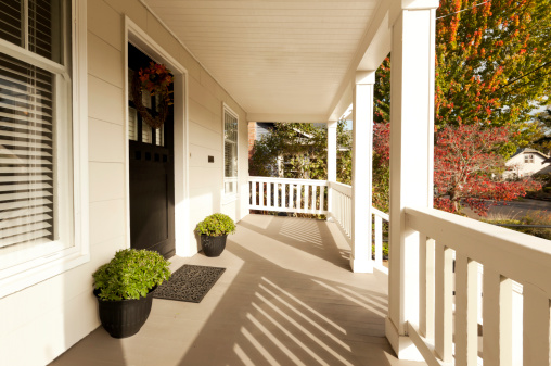 Covered front porch to beautiful home.