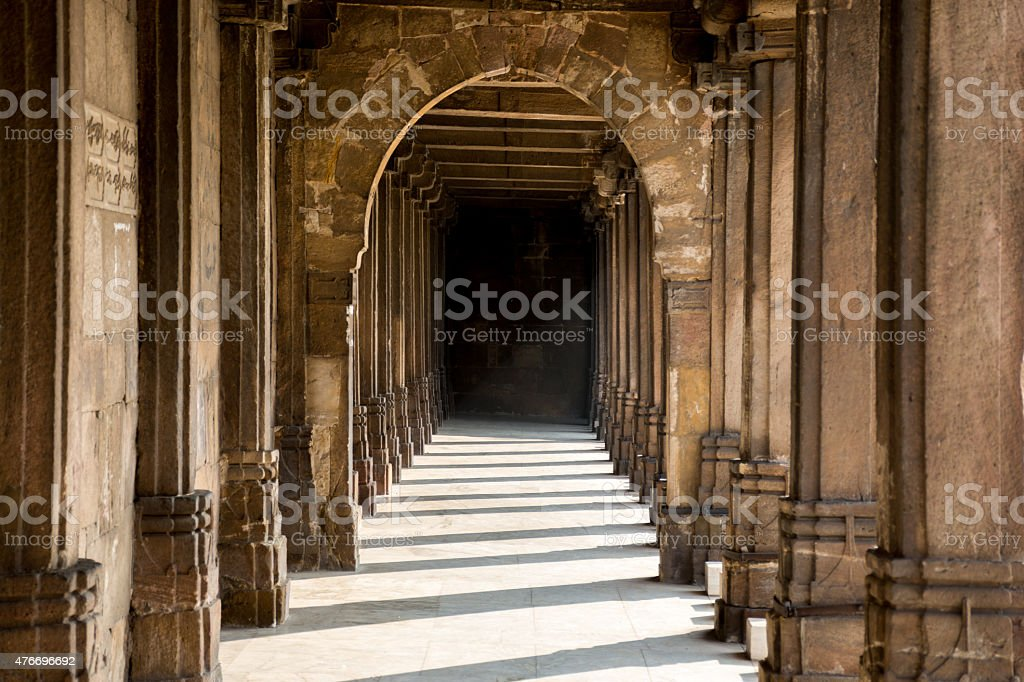 Covered lobby/colonnade surrounding the central courtyard at Jam stock photo