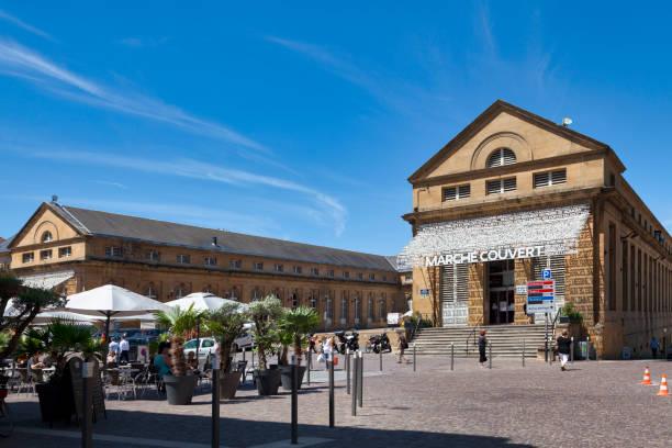 Covered market of Metz stock photo