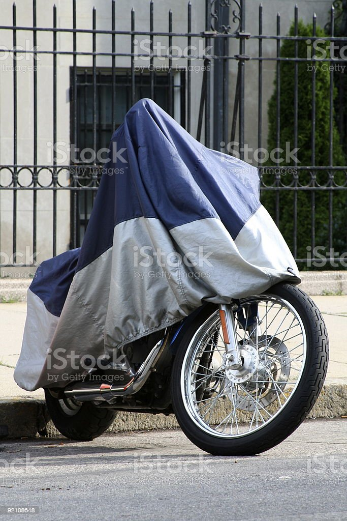 Covered Motorcycle stock photo