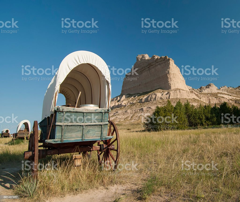 Covered Oregon Trail wagon exhibit at Scotts Bluff National Monument stock photo