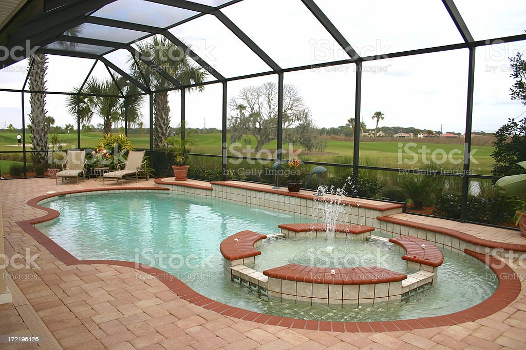 Covered Pool near the Golf Course royalty-free stock photo
