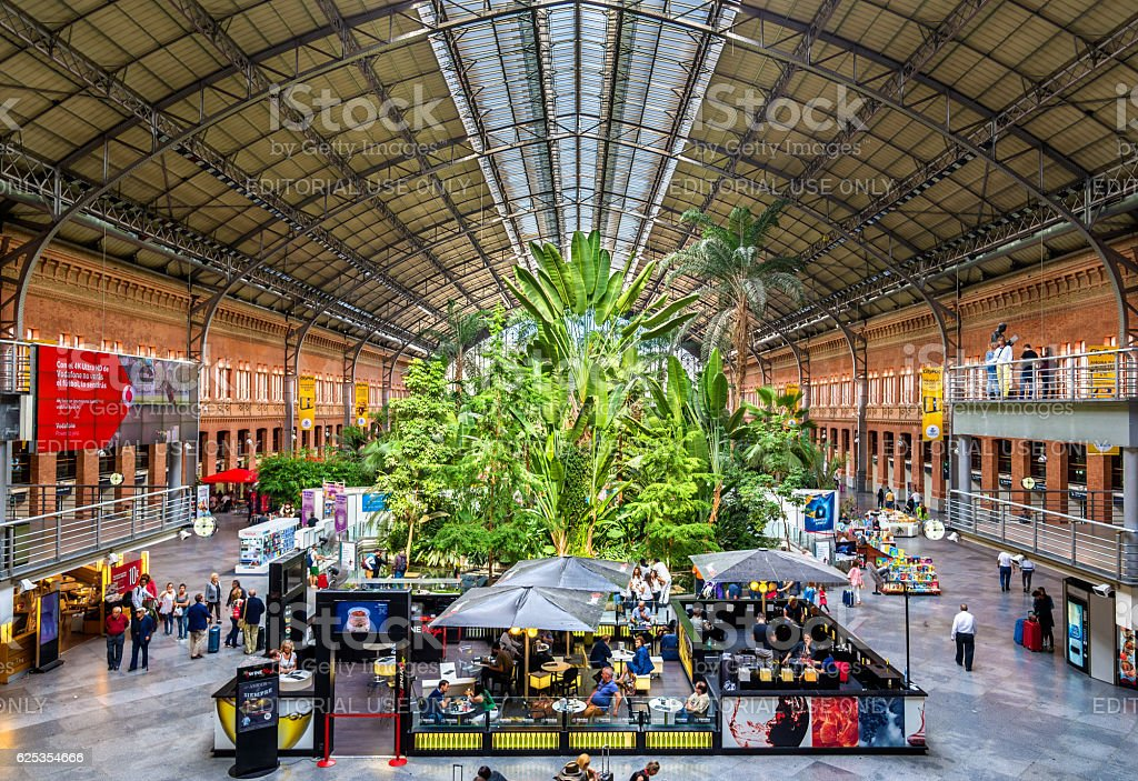 Covered tropical garden inside the old building of Atocha railway stock photo