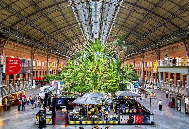 Covered tropical garden inside the old building of Atocha railway - foto de stock