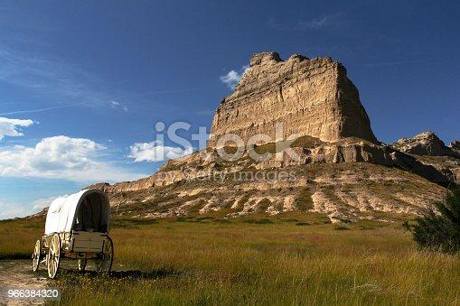 Covered wagon at Scotts Bluff National Monument in Nebraska; part of the historic Oregon Trail, California Trail, & Mormon Trail; near Mitchell Pass.