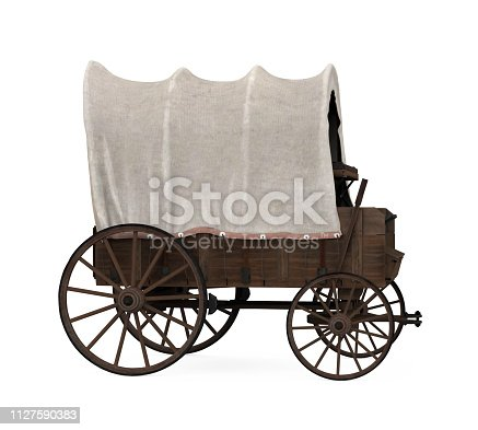 Covered Wagon isolated on white background. 3D render