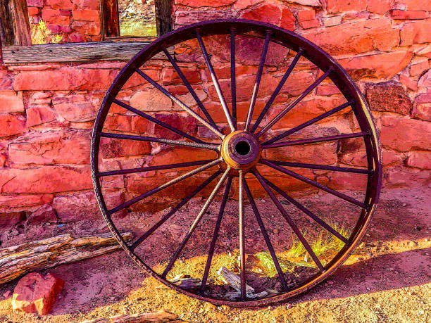 Covered Wagon Wheel Rim stock photo
