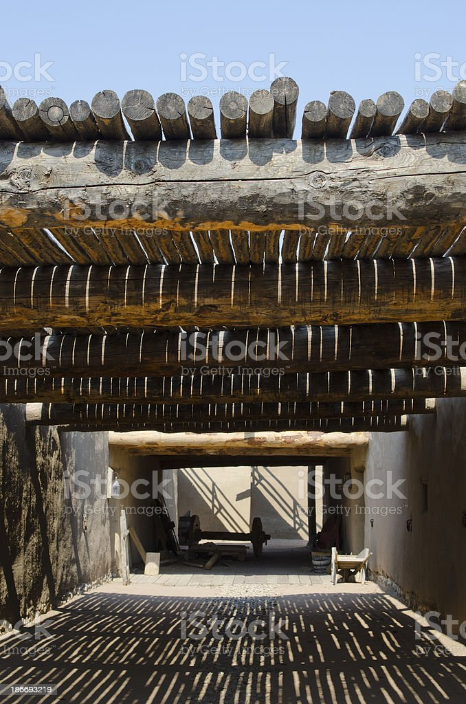 Covered Walkway at Bent's Old Fort National Historic Site stock photo