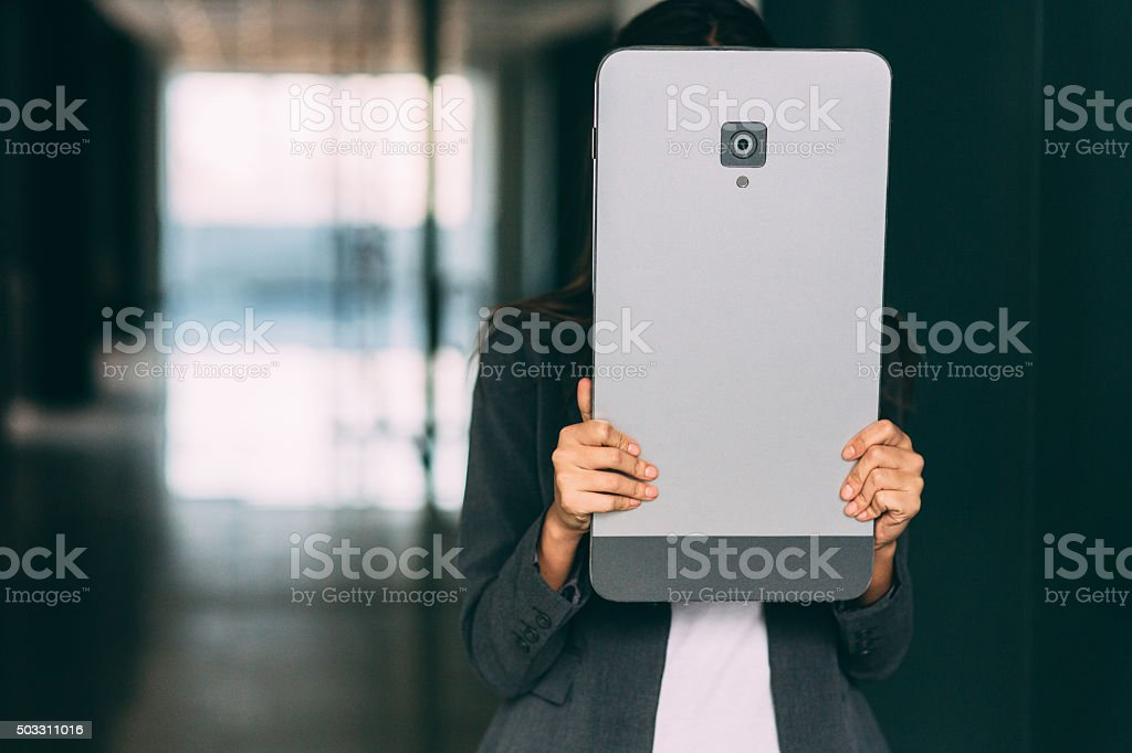 Covered With A Large Smart Phone stock photo