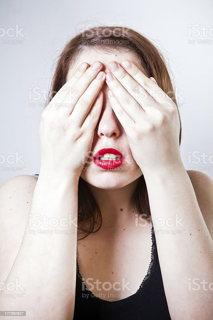 Covering eyes royalty-free stock photo